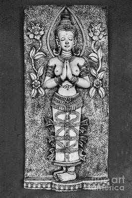 Goddess Mythology Photograph - Thai Carving Of Naked Goddess by Antony McAulay