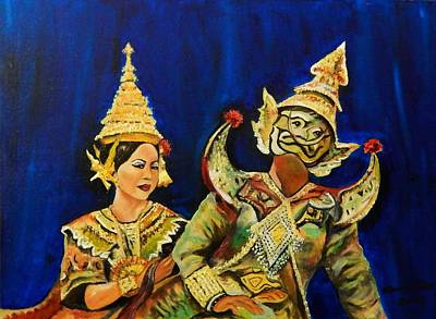 Bangkok Painting - Thai Dancer And Yak by Marvin Pike