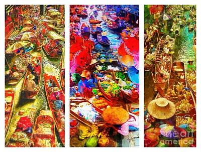 Painting - Thai Market Triptych by Mo T