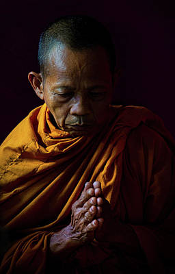 Lee Craker Royalty-Free and Rights-Managed Images - Thai Monk Praying  by Lee Craker