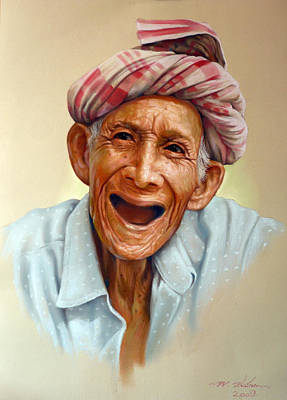 Painting - Thai Old Man2 by Chonkhet Phanwichien