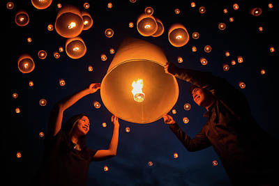 Thai People Floating Lamp In Yeepeng Festival Art Print by Anek Suwannaphoom