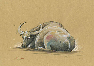 Water Buffalo Wall Art - Painting - Thai Water Bufffalo by Juan Bosco