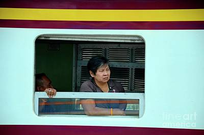 Photograph - Thai Woman Rail Passenger Looks Out Of Train Carriage Window Bangkok Thailand by Imran Ahmed