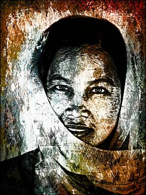 Photograph - Thai Woman With Scarf- Graffiti Wall Art by Ian Gledhill