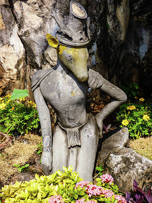 Photograph - Thai Yoga Statue With Animal Head At Wat Pho Temple by Helissa Grundemann