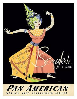 Folk Art Digital Art - Thailand Classical Dancer Vintage Airline Travel Poster By A. Amspoker by Retro Graphics