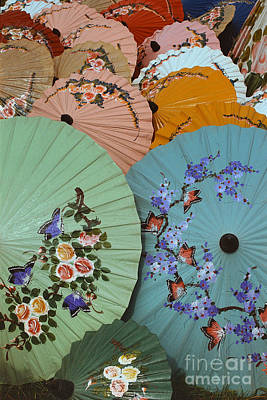 Photograph - Thailand Parasols Abstract - Blue Thai  Parasols by Sharon Hudson