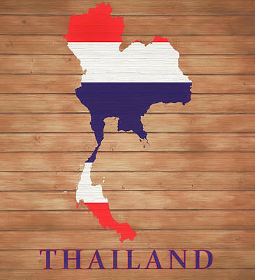 Mixed Media - Thailand Rustic Map On Wood by Dan Sproul