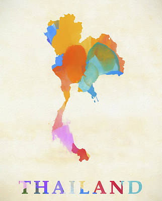 Painting - Thailand Watercolor Map by Dan Sproul