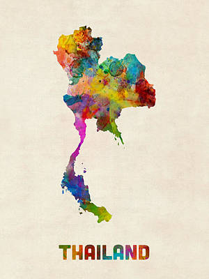 Thailand Digital Art - Thailand Watercolor Map by Michael Tompsett