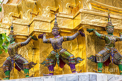 Photograph - Statues In Thailand's Royal Palace by Rene Triay Photography