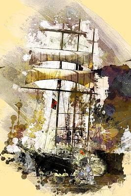 Tallship Digital Art - Thalassa 2 by Arie Van Garderen