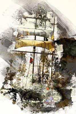 Tallship Digital Art - Thalassa by Arie Van Garderen