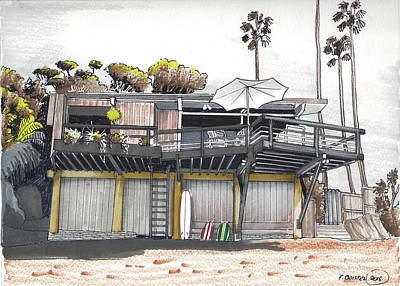 Laguna Beach Drawing - Thalia Street House Laguna Beach by Franck Boistel