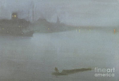 English Scene Painting - Thames   Nocturne In Blue And Silver by James Abbott McNeill Whistler