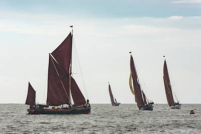 Photograph - Thames Sailing Barges Tacking by Gary Eason