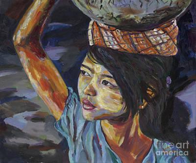 Painting - Thanaka Girl Of Burma by Michael Cinnamond