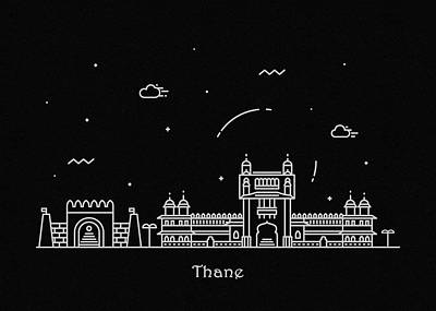 Drawing - Thane Skyline Travel Poster by Inspirowl Design