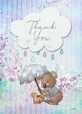 Mixed Media - Thank You - Bear by Mo T