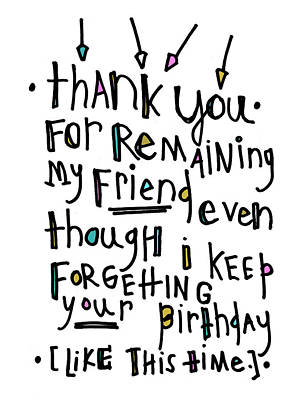 Thank You Birthday Art Print by Tonya Doughty