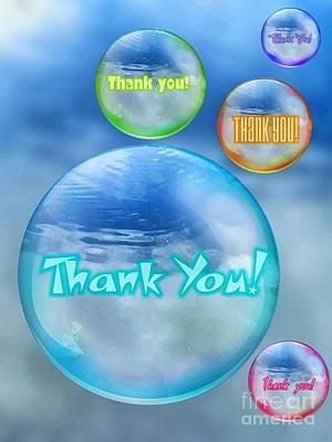 Digital Art - Thank You Bubbles by Rachel Hannah