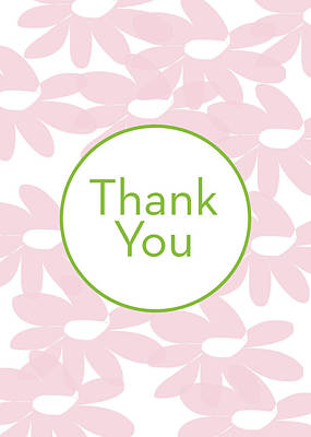 Thank You Card Pink Flowers- Art By Linda Woods Art Print