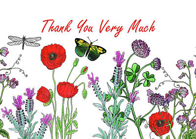 Painting - Thank You Card Watercolor With Flowers Butterflies And Dragonflies by Irina Sztukowski