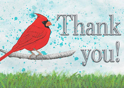 Digital Art - Thank You Card With Northern Cardinal by Mary Elizabeth Thompson