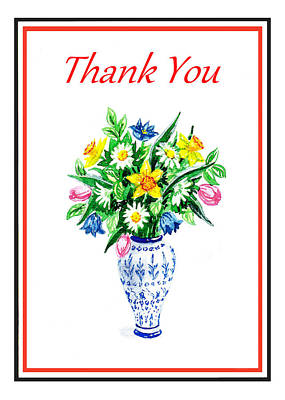 Antique Flowers Vase Wall Art - Painting - Thank You Flowers In The Vase by Irina Sztukowski