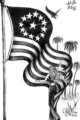 Old Glory Drawing - Thank You Old Glory by Sofia Metal Queen