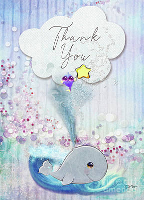 Mixed Media - Thank You - Whale  by Mo T