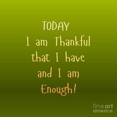 Digital Art - Thankful by Rachel Hannah