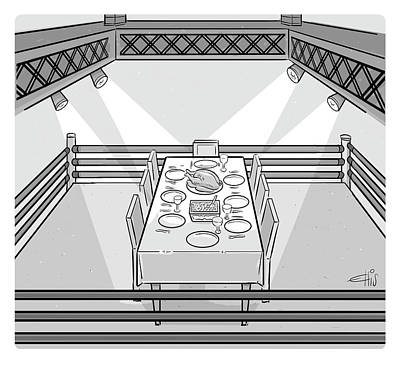 Drawing - Thanksgiving Boxing Ring by Ellis Rosen