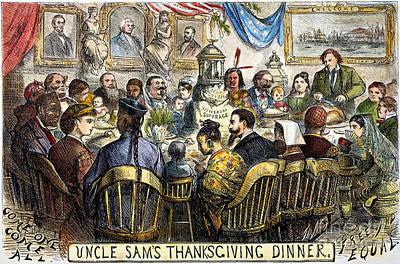 Thanksgiving Cartoon, 1869 Art Print by Granger
