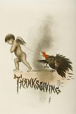 Thanksgiving Day Menu. Cunard West Art Print by Vintage Design Pics