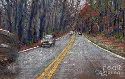 Highway Drawing - Thanksgiving Drive by Donald Maier