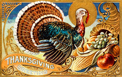 Grettings Digital Art - Thanksgiving Greeting Turkey Vintage Postcard by Black Brook Photography