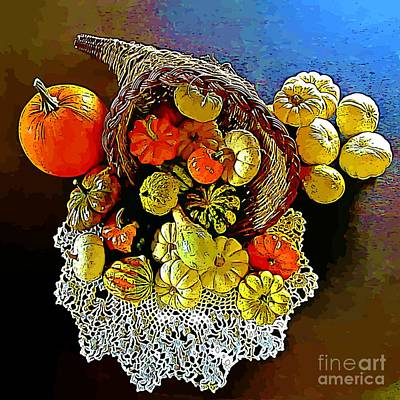 Reflection Harvest Painting - Thanksgiving Horn Of Plenty by John Malone