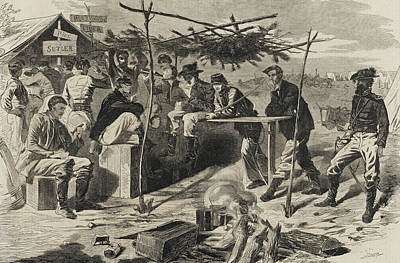 Mess Drawing - Thanksgiving In Camp by Winslow Homer