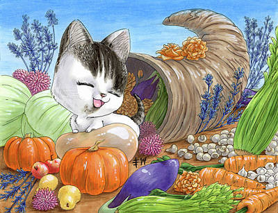 Mixed Media - Thanksgiving Kiki by Denise Hutchins
