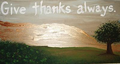 Give Thanks Painting - Thanksgiving by Marcie Mayo