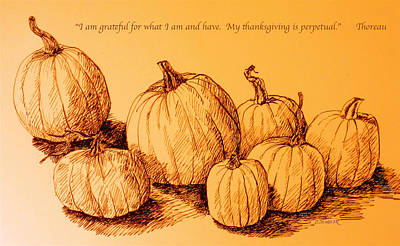 Henry David Thoreau Drawing - Thanksgiving Pumpkins by Deborah Dendler