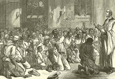 Thanksgiving Service At Midnight For The Emancipation Of The Slaves Print by English School
