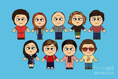 That 70's Show Main Characters Chibi Manga 70's Show Art Print by Paul Telling