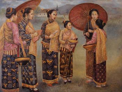 Laos Painting - That Luang Festival Of Luang Prabang by Sompaseuth Chounlamany