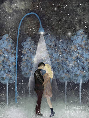 Snowy Night Painting - That Magic Moment by Bleu Bri
