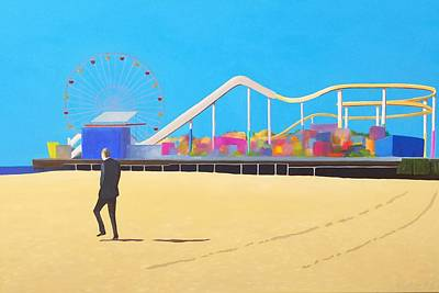 Roller Coaster Painting - That Man On The Beach by Karyn Robinson