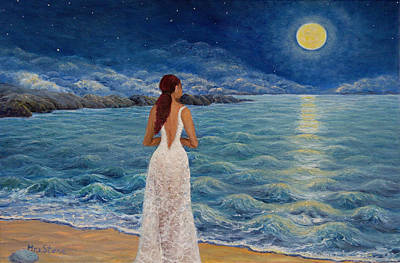 Sea Moon Full Moon Painting - That Night At Kalamitsi Bay by Petra Theodoridou