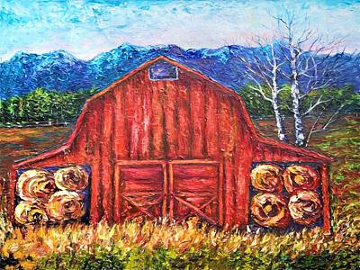 Painting - That Old Red Barn  by OLena Art Brand